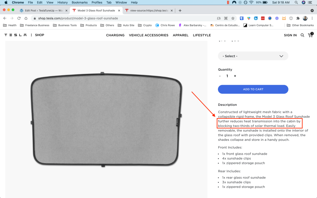 Tesla's Model 3 glass roof sunshade product page